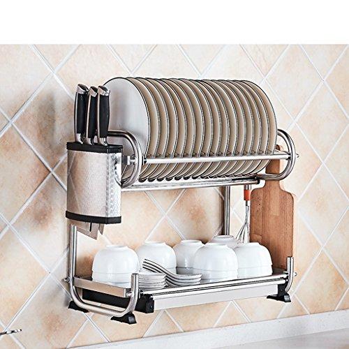 Bowl Shelf 304 étagère de cuisine en acier inoxydable pendaison pylône baguettes vaisselle rangement incorporé égouttoir tablette étagère 2 couche 45 * 25 * 38cm ( edition : C , taille : 45*25*38CM )