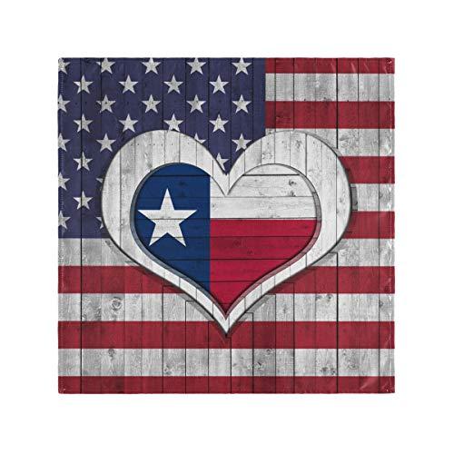 Kcldeci Amerikanische Flagge Stoffservietten 1 Stück Set Texas Flagge Herz Tischservietten Küche Servietten Läufer für Bauernhaus Urlaub Party Hochzeit Hotel Home Decor, Polyester, Multi, 20x20inx4