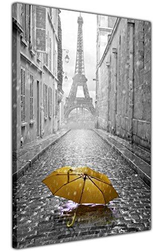 Parijs Canvas Prints Iconische Ieffel Toren Met Gele Paraplu 18mm Dikke Frame Giclee Muur Art Pictures GROOTTE: 30 X 20 (76CM X 50CM)