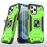 Suordii Compatible with iPhone 12 Pro Case with Tempered Glass Screen Protector [2Pack], Kickstand | Protective Case | Ring Magnetic Car Mount with iPhone 12/iPhone 12 Pro 6.1 inch - Green