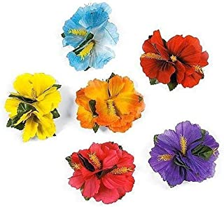 Super Z Outlet Hula Girl Hibiscus Color Assorted Flower Lei Hawaiian Island Rainforest Theme Hair Clips for Costume, Birthday Party Favors, Event Decoration Supplies (12 Pack)