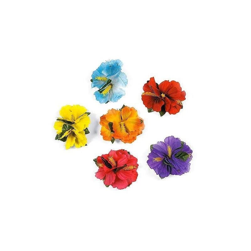 silk flower arrangements hula girl hibiscus color assorted flower island theme hair clips event decoration supplies (12 pack)
