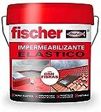fischer - Pintura impermeabilizante (cubo 1kg) Rojo con fibras, resistente al agua y exteriores
