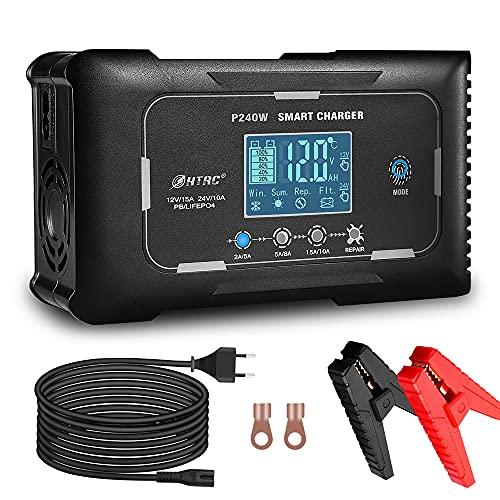 HTRC Ladegerät Autobatterie 12V 15A / 24V 10A, Vollautomatisches Intelligentes Batterieladegerät mit Temperaturkompensation und LCD-Touchscreen, Erhaltungsladegerät für Auto Motorrad und Boot