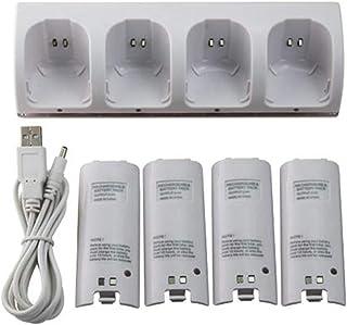 freneci 4-in-1 laadstation + 4 stuks 2800 mAh batterijen voor Wii Controller - wit