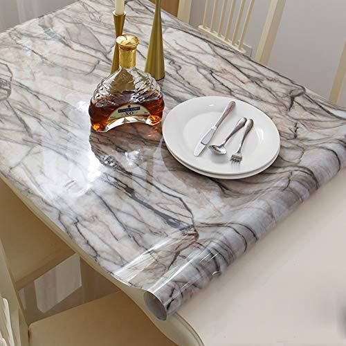 DENG&JQ Schwarz Matt PVC Tischdecken,Transparent Weichglas Wasserdicht Esstisch Tischdecken Kunststoff TischMatt Waschen Öl Coffee Table-G 90x160cm(35x63inch)