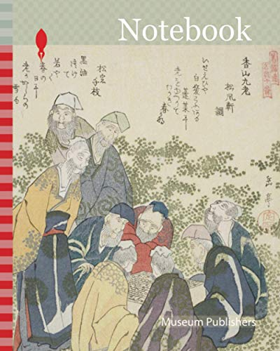 Notebook: The Nine Old Men of Mount Xiang (Kozan kyuro), from the series A Set of Ten Famous Numbers for the Katsushika Circle (Katsushikaren meisu ... Japan, Color woodblock print, shikishiban