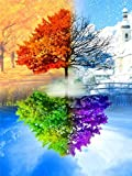 5d kit de bordado de diamantes punto de cruz árbol paisaje arte pintura mosaico primavera e invierno decoración del hogar pintura A1 30x40 cm