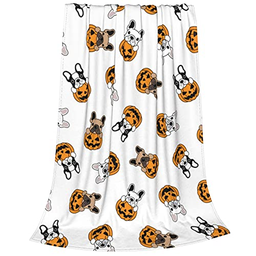 Tawetori French Bulldog Pumpkin Halloween Blanket Soft Throw Blanket Lightweight Flannel Blanket Queen Size for Sofa Couch Bed Office Travel Camping 60'X50'