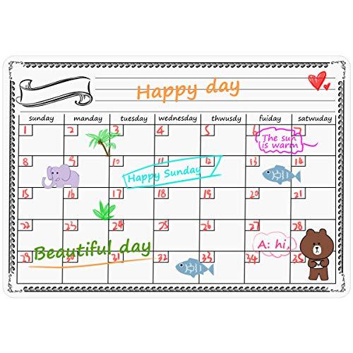 NATUCE Lavagna Calendario Magnetico Frigorifero, 42 x 33 cm Lavagna Magnetico Cancellabile Perfetta per Pianificare I Pasti, Segnarsi La Lista della Spesa - Mensile - in Inglese