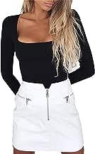 GRMBERA Women's Square Neck Long Sleeves Bodysuit Top Basic Solid Bodysuit Leotard