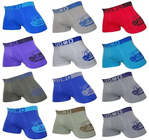 12er Pack Jungen Boxershorts | Kinder Retroshorts aus hochwertigem Microfaser | Unterhosen/Schlüpfer (128-140, Mehrfarbig 3)