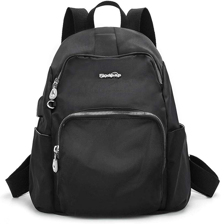 SLH Rucksack weibliche Wilde Leinentasche diebstahl Reisetasche (Farbe   schwarz, Größe   30  15  35cm)