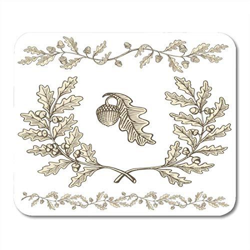 Mauspads Blattbraun Natur Beige Eiche Kranz und Astteiler mit Eicheln mit Holzschnitt Schattierung Weiß Skizze Pflanze Mauspad für Notebooks, Desktop-Computer Büromaterial