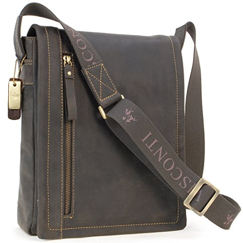 Visconti Messenger/Koerierstas Bag - Hunter Leer - iPad/Kindle/Laptop Tas/Overslag/Schouder/Cross Body/Werk/Vrije Tijd - 16081 - TOMMY - Olie Bruin