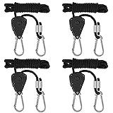 Migimi 4 Stück Duty Heavy Rope Seilratsche mit Haken, 1/8 Zoll Seil Ratsche Kleiderbügel Aufhänger für Hängende Zelt Wachsen Pflanze Lampe, 150lb Kapazität Pro Paar