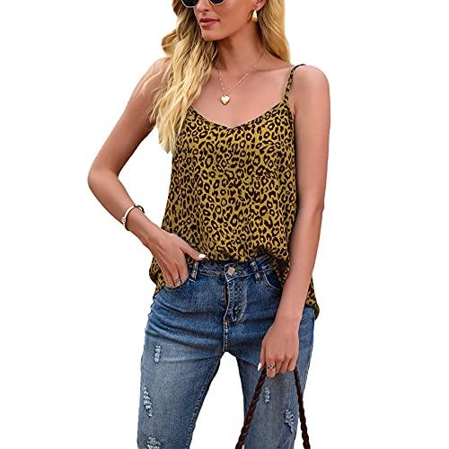 XYJD Lente en zomer dames casual mode V-hals luipaardprint losse mouwloos hemdje T-shirt top dames, Geel, XL