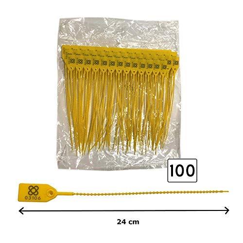 DOJA BARCELONA | Gelb Sicherheitsplomben aus Kunststoff | 100 Einheiten | 24 cm Lang | Plomben kunststoff zum beschriftung, fur koffer, gepäck, beschriftung, unter anderen Verwendungen.