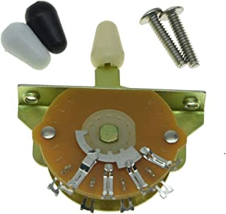 KAISH Guitar 5-Way Pickup Selector Switch Pickup Switch with Black/Ivory/White Tips and Mounting Screws for Strat