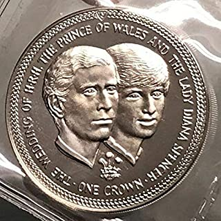 1981 unknown 1981 ISLE of MAN AR Crown Coin WEDDING of Charles coin Good
