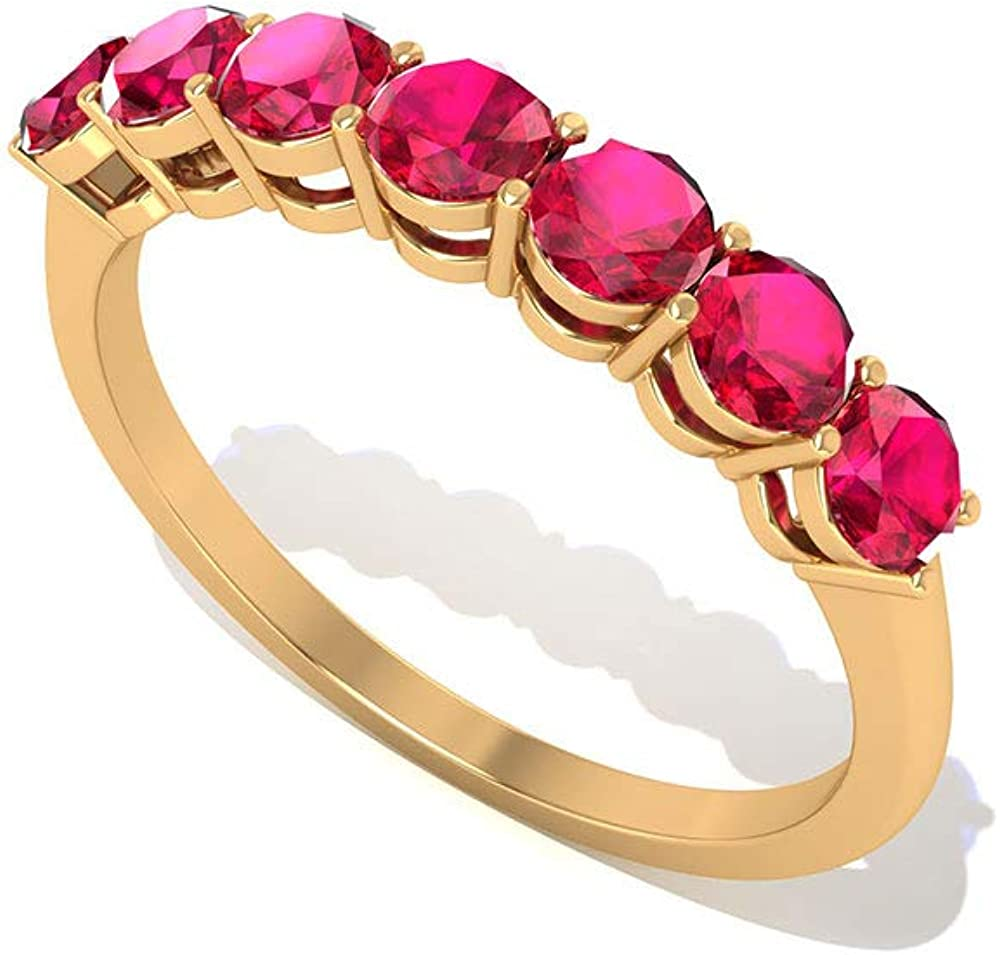 Handmade 1.05 CT Certified Ruby Lab Created Gold Wedding Ring, Vintage Engraved Red Gemstone Half Eternity Rings, Dainty July Birthstone Promise Seven Stone Rings, 14K Gold