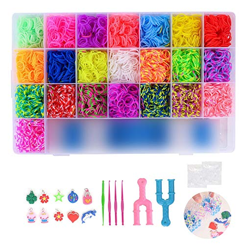 FORMIZON DIY Pulseras Gomas, 4400 Kit Completo, 22 Colores, Kit de Bandas Trenzadas Brazaletes y Juguetes, Juego Creativo para Niños