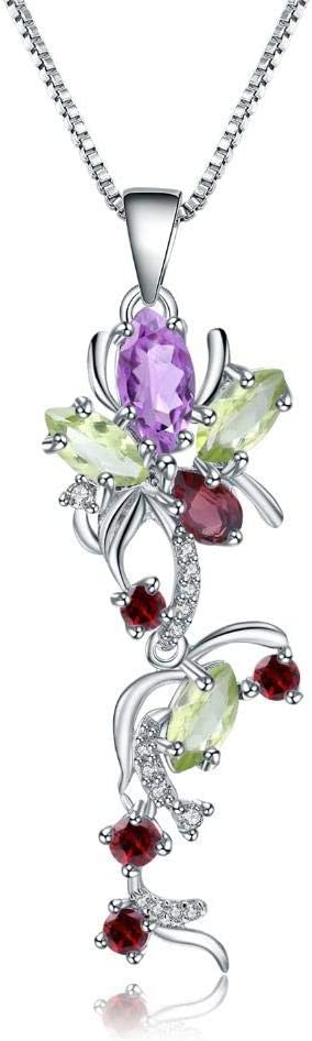 Spring new work one after another Necklace Pendant Sale Multicolor Natural Peridot Garnet Amethyst 925