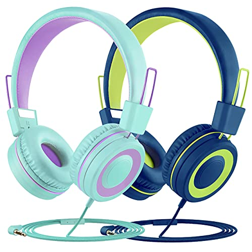 Kids Headphones with Microphone 2 Pack, Wired On Ear Headphones for Kids with 91dB Volume Limit, Online Schooling Headsets with Sharing Splitter for Boys Girls Children School Travel