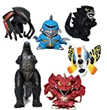 EZFun Set of 6 Godzilla Toys Movable Joint Birthday Kids 2020 Action Figures Destoroyah Gigan MUTO Mothra Chibi King of The Monsters Pack Plastic Mini Dinosaur Movie Playsets Cake Toppers Package