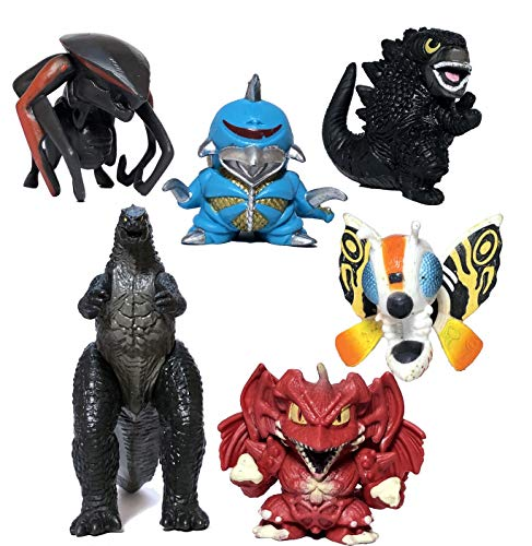 EZFun Set of 6 Godzilla Toys Movable Joint Birthday Kids 2019 Action Figures Destoroyah Gigan MUTO Mothra Chibi King of The Monsters Pack Plastic Mini Dinosaur Movie Playsets Cake Toppers Package