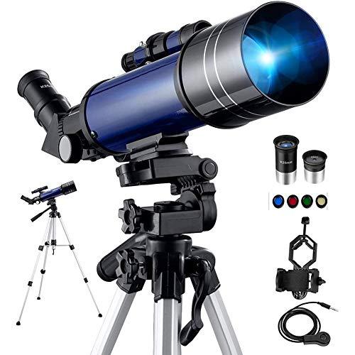 YT Telescopio Astronómico Binoculares Monocular Portátil con Trípode Ajustable y Adaptador de Teléfono y Filtro de 4 Lunas, Prismáticos Refractor para Niños, Adultos, Principiantes,Azul