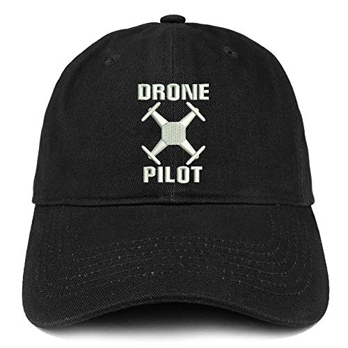 Trendy Apparel Shop Drone Operator Pilot Embroidered Soft Crown 100% Brushed Cotton Cap - Black