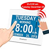 iGuerburn Talking Day Clock 8' Large Display with Touchscreen for Dementia Seniors Alzheimer's Elderly Visually Impaired Memory Loss Digital Calendar with Date and Time 8 Alarms Manual Dim