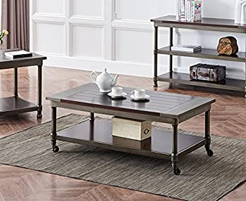 Industrial Wood Coffee Table with Shelf & Wheels 360°Free Rotating Frame Rustic Cocktail Table Farmhouse Accent Table for Living Room Bedroom 47.9  L x 26  W x 17.9  H Dark Brown