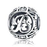 LaMenars Ciondolo con Lettera Dell'alfabeto in Argento Sterling 925, Vintage Charm Bead con iniziale A alla Z, con Zirconia Cubica, Compatibile con Pandora e Europei Bracciale Collane (Lettera B)