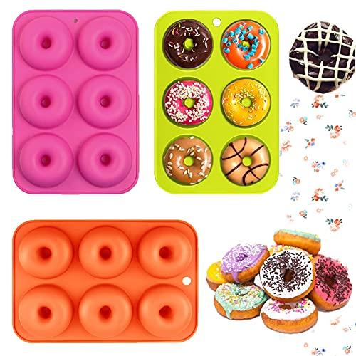 Moldes de Silicona para Donut, 3 Moldes de Rosquilla, Molde Silicona Horno Donuts Sin BPA, No Pegajoso se Utiliza para Hornear Pasteles Muffins Galletas Moldes para Bagels.