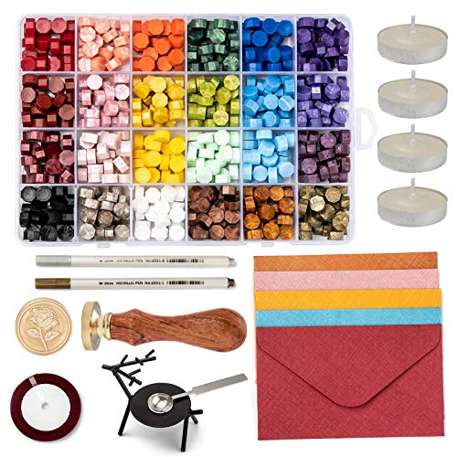 Cheriswelry 615pcs Wax Seal Kit Rose Wax Seal Stamp, Wax Beads, Vintage Envelopes, Wax Seal Warmer, Melting Spoon, Candles, Marker Pens, Satin Ribbon for Wax Sealing