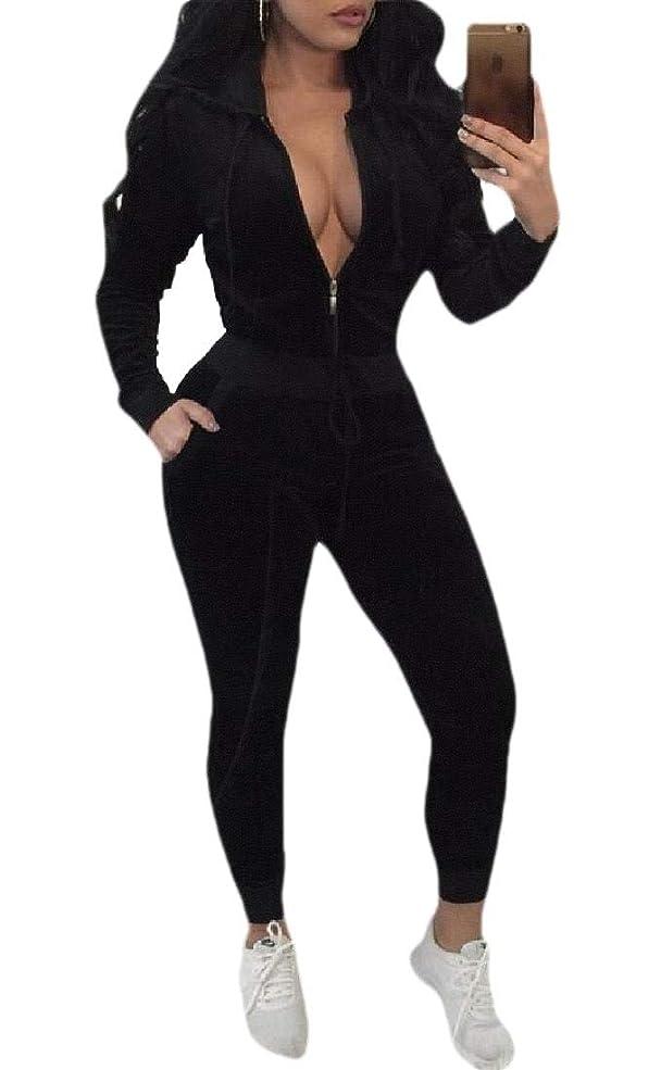 空港許可ユーザーWomens Velvet Tracksuit 2 Pieces Outfits Set Zipper Hoodie and Sweatpants Solid Jogging Suits