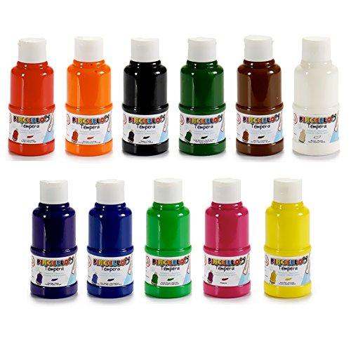 BAKAJI Set da 11 Colori Tempera per Dipingere Barattolo Tubo con Tappo Pittura da 120 ml,...
