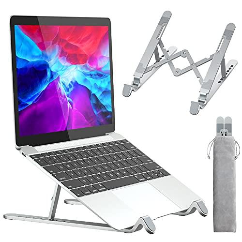APMIEK Supporto PC Portatile Alluminio 7 Livelli Regolabile Porta Notebook, Raffreddamento Pieghevole Supporto Laptop per MacBook Air PRO, Dell, XPS, HP, Lenovo Computer Portatili e Tablet