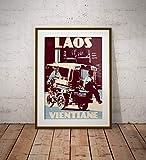 guyfam Vintage Poster Laos - Vientiane - Tuktuk - Fine Art