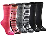 Dickies Women's Dri-tech Moisture Control Crew Socks Multipack, Stripe, Shoe Size: 6-9
