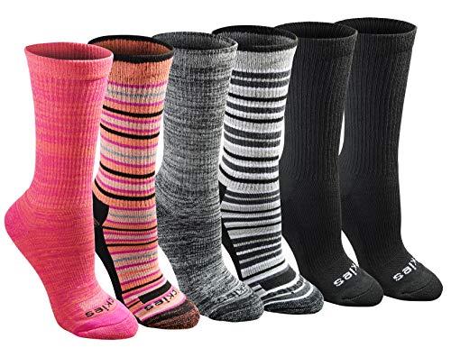 Dickies Women's Dri-tech Moisture Control Crew Socks Multipack, Stripe (6 Pairs), Shoe Size: 6-9