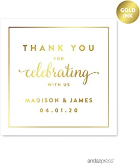 Andaz Press Personalized Square Wedding Favor Gift Labels Stickers, Metallic Gold Ink, Thank You for Celebrating With Us, 40-Pack, Custom Made Any Name