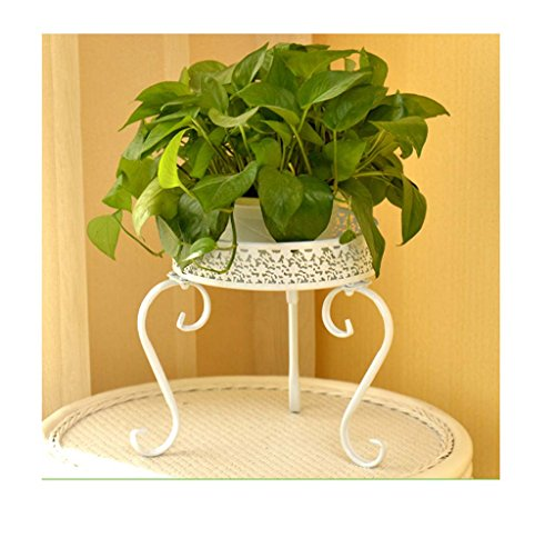 FZN Fleur Balcon en Fer forgé Fleur du Sol siège Salon de bonsaïs d'intérieur Pots de Fleurs (Couleur : Blanc)