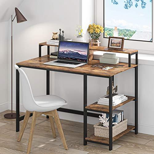 Tribesigns Computertisch Industrieller Schreibtisch für das Studium, PC-arbeittisch mit 2 Regal Metallrahmen für Zuhause, Büro, Wohnzimmer, Schlafzimmer (Braun)