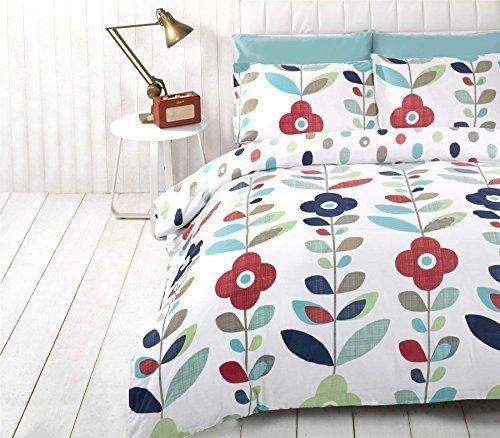 Lumineux Floral Ovale à Pois Mélange de Coton Bleu Double ( Uni Gris Argenté Drap Housse - 137 X 191cm + 25) 4 Pièces Ensemble de Literie