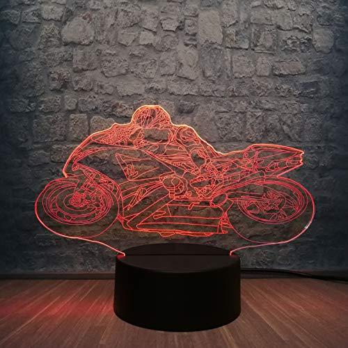 Nuanchen , 3D Nachtlicht , Led-Lampe Motorrad Mann 7 Farbwechsel Tisch Nachtlicht Cool Boy Schlafzimmer Dekoration Kinder Geschenk Usb-Basisschalter