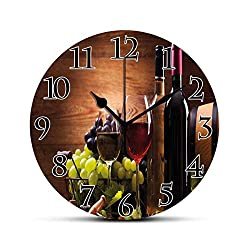 Dadidyc Wine Silent Wall Clock Glasses of Red and White Wine Served with Grapes French Gourmet Tasting Desk Clock Round Unique Decorative for Home Bedroom Office 10in