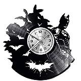 EVEVO Batman Reloj De Pared Vintage Accesorios De Decoración del Hogar Diseño Moderno Reloj De Vinilo Colgante Reloj De Pared Reloj Único 12' Idea de Regalo Creativo Vinilo Pared Reloj Batman